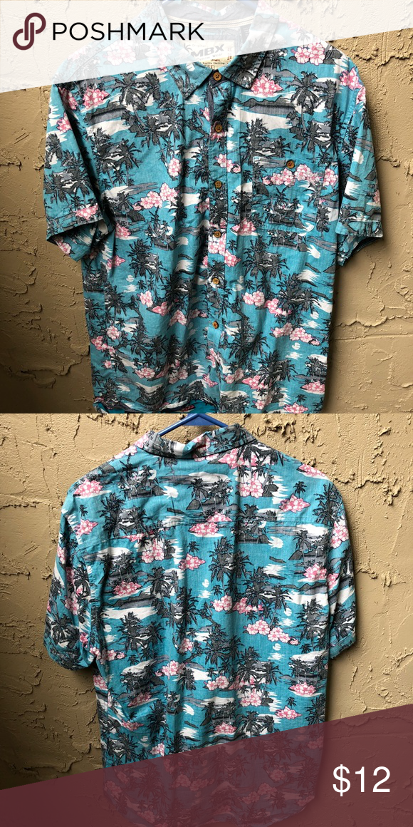 88709d57 Clean Hawaiian Button Down. Flowers Gives You Powers. MBX Shirts Casual  Button Down Shirts
