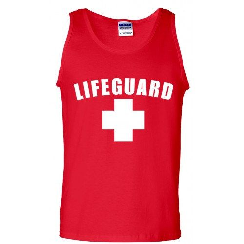 32a60766958003 Unisex Red Lifeguard Tank Top. Great for costume or lifeguard at the local  pool.