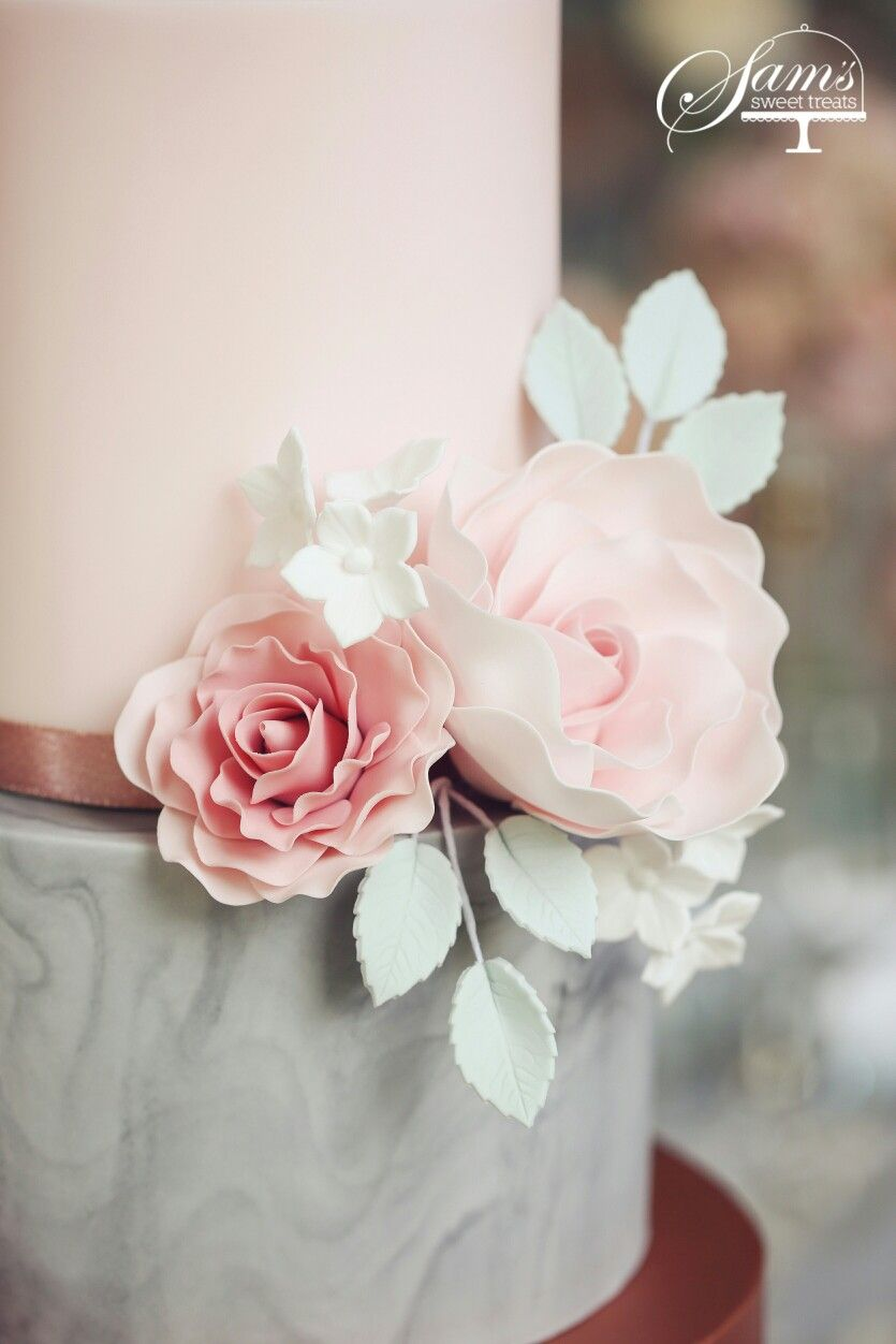 Wedding Cake Marble Grey Pink Dusky Pink Sugar Flowers Sams Sweet