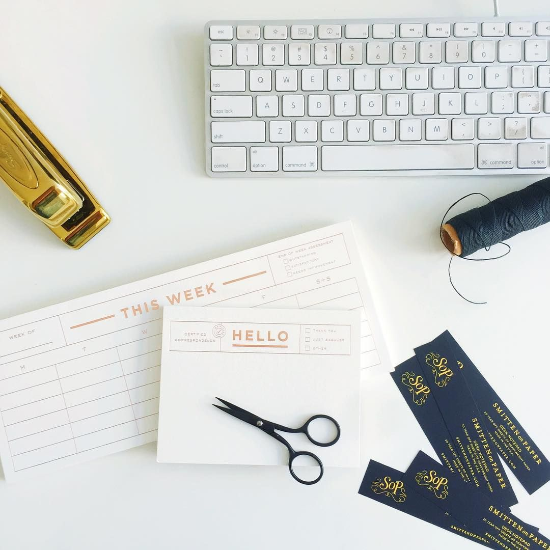 rose gold foil desk notepads | Smitten on Paper