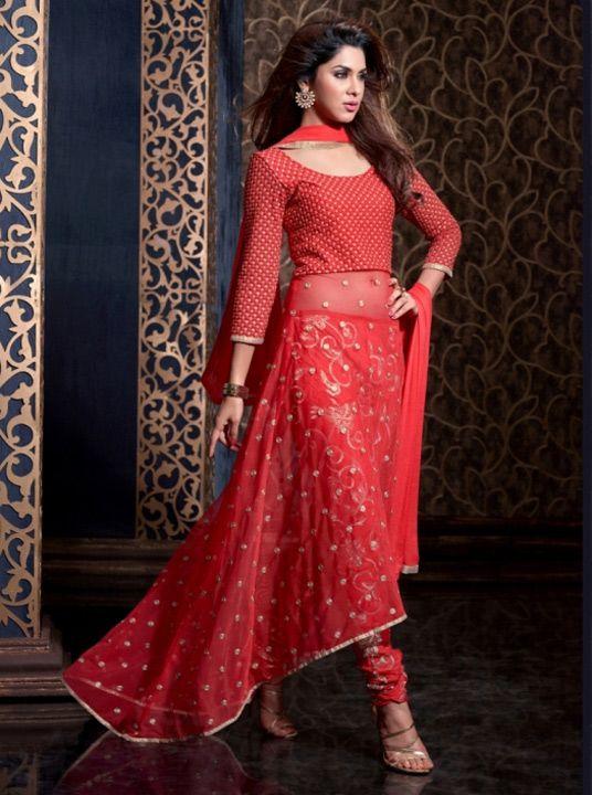2eac997b2  110.44 Red Net Indo Western Anarkali Suit 57220