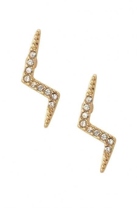 Gold Lightning Stud Earrings Stella Dot Holiday Style