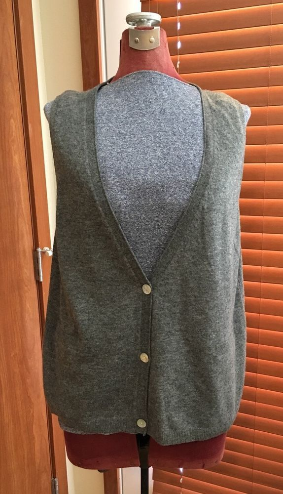 Eileen Fisher Lambswool Cashmere Gray Button Up Sweater Vest Women ...