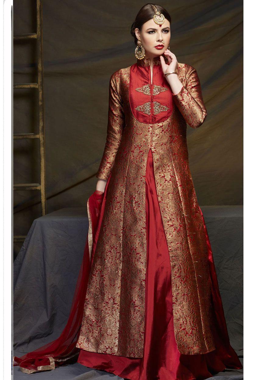 Maroon Banarasi Brocade Achkan Style Salwar Kameez Lehenga
