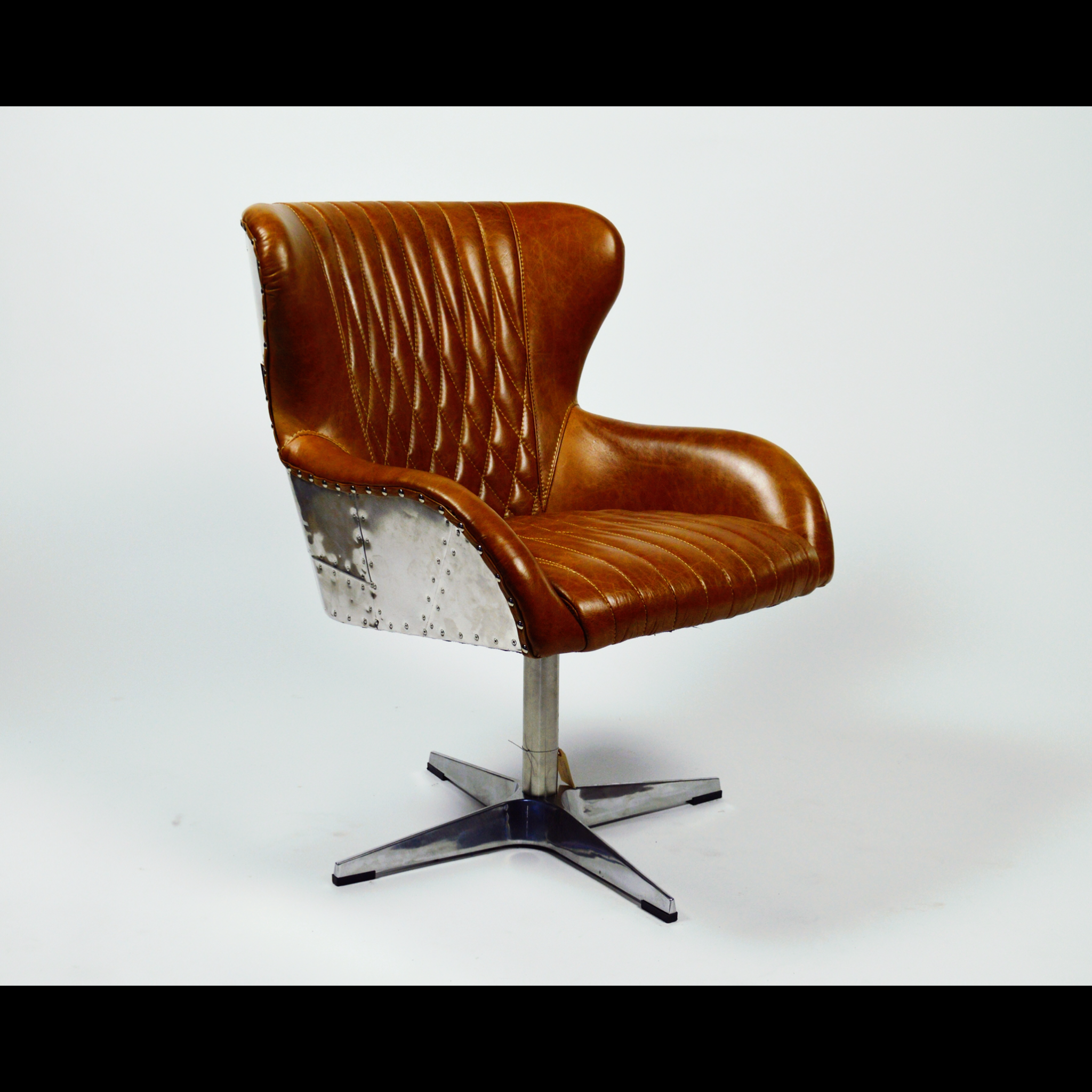aviation leather desk chair aluminum backing austin custom