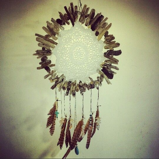 My very first dreamcatcher. Hand made turquoise and brown by Driftwood 6