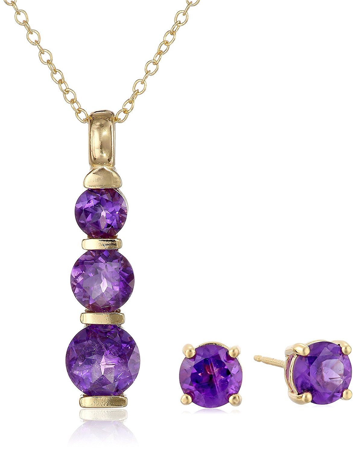 18k yellow gold plated sterling silver gemstone journey pendant 18k yellow gold plated sterling silver gemstone journey pendant necklace and stud earrings set aloadofball Image collections