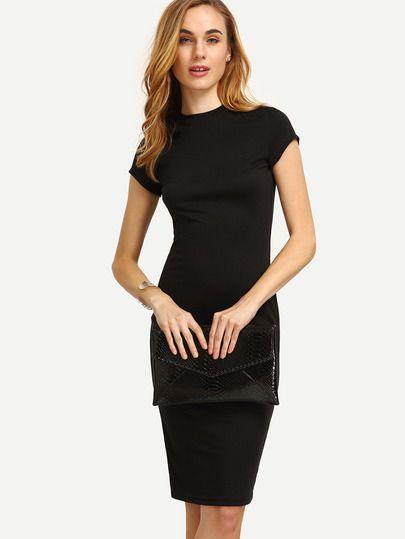 Black Cap Sleeve Crew Neck Sheath Dress -SheIn(Sheinside)  9ca350fcec00