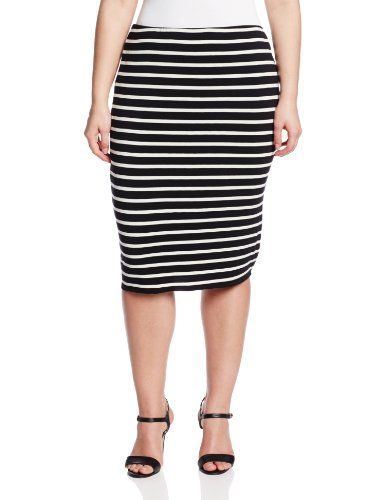 cd5545984 Vince Camuto Women's Plus-Size Retro Stripes Midi Tube Skirt, Rich Black,  1X Vince Camuto