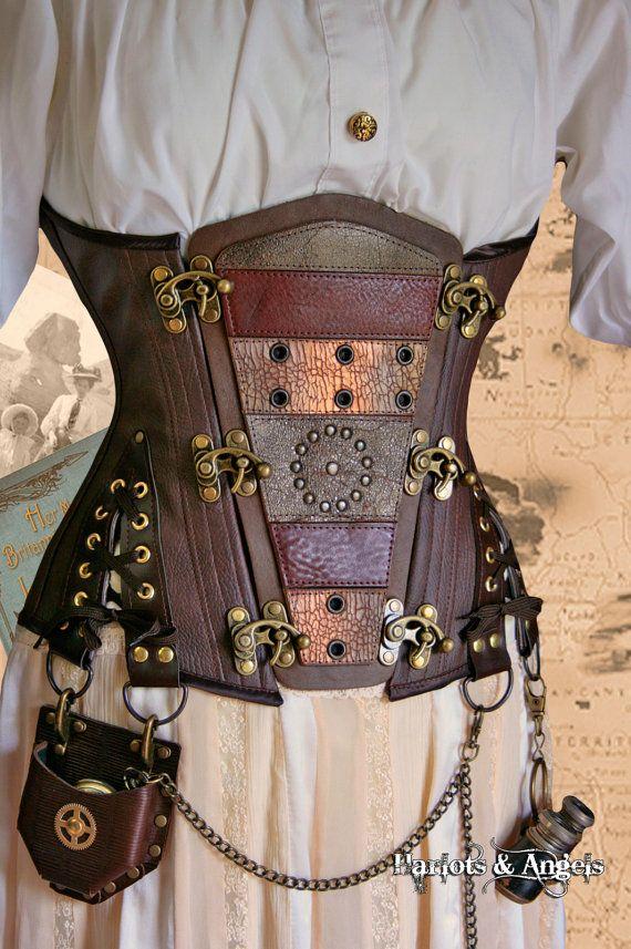 Unique Steampunk Brass leather applique Rogue by Harlotsandangels, corset