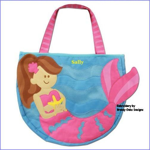 Personalized Kids Beach Bag Mermaid Tote Pool Toys Toddler Sand Sibling Gift Swim Wet
