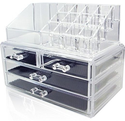 Clear Makeup Case Cosmetic Organizer 4 Drawer Deluxe Jewelry & Cosmetic Storage #UniqueHome