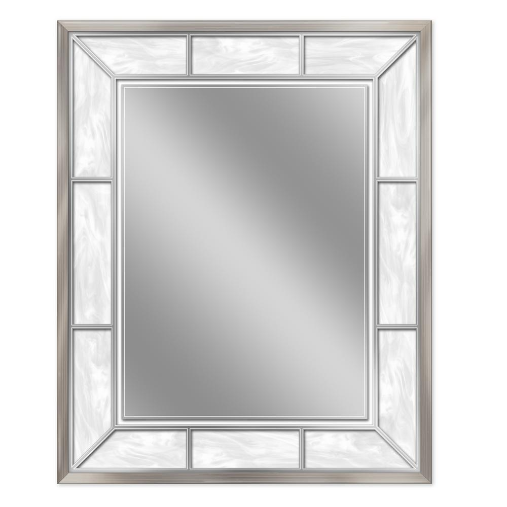 Deco Mirror 25 In W X 31 In H Framed Rectangular Bathroom Vanity Mirror In Brush Nickel 8003 The Home Depot Mirror Wall Shabby Chic Bathroom Mirror