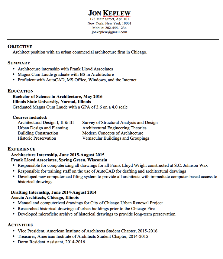 Resume Sample Architect  HttpExampleresumecvOrgResumeSample