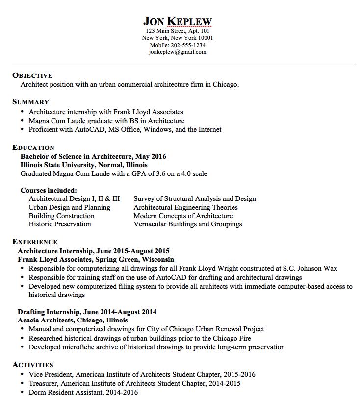 Resume Sample Architect Examples Resume Cv