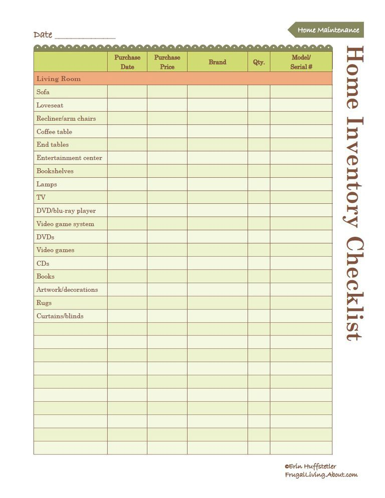 Use This Free Printable to Create an Inventory of Your Home