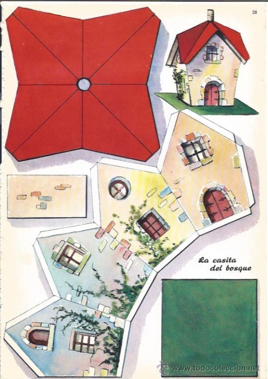 Bastelbogen h tte paper toys pinterest papier maisons en papier and maison en carton - Gabarit maison en carton ...