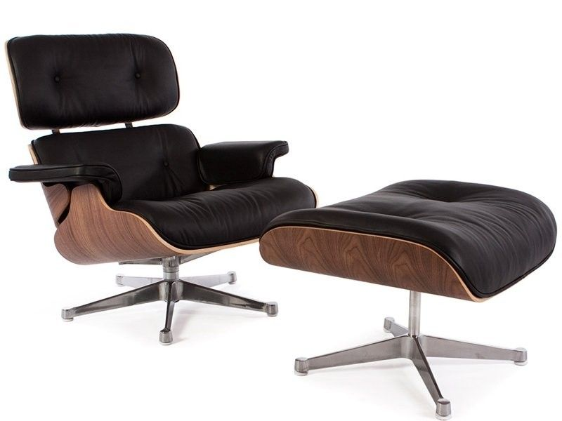 Retro Eames Black Leather Lounge Chair And Footstool Classic