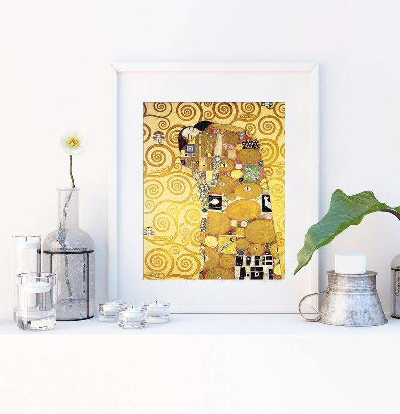 Set Von Sechs Gustav Klimt Drucke 6 Klassische Gemalde Foto Poster Wand Kunst Geschenk Home Decor Sonnenblumen Die Umarmung Kuss Hoffnung Ii Kuss Foto Poster Klimt Gustav Klimt