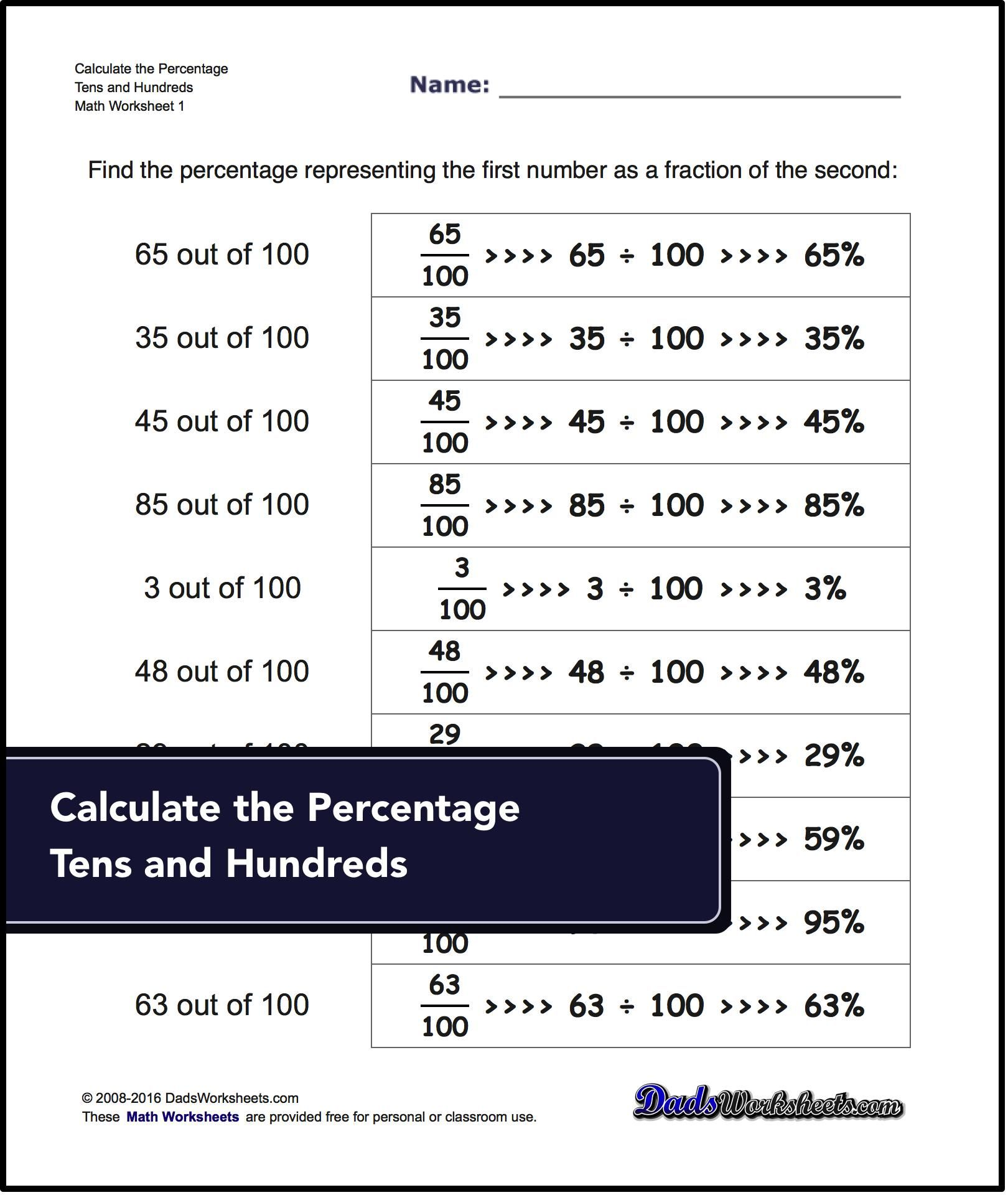 Check This Out Free Math Worksheets For Percentages