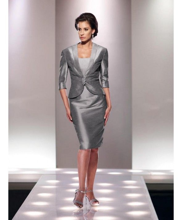 ef9962edd0 Graceful Strapless Knee Length Silver Taffeta Sheath Column Mother Of The Bride  Dress With Jacket