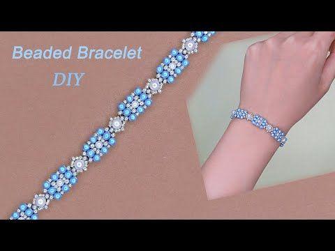 Photo of DIY Elegant Pearl Beaded Bracelet, Beaded Bracelet with Blue Pearls and White Pearls 手作珍珠串珠手链