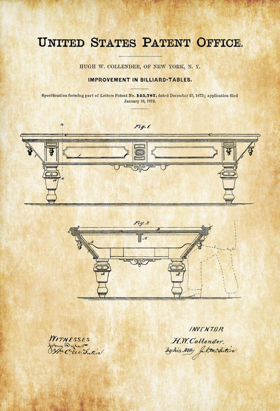 Pool Table Patent 1872 - Patent Print, Wall Decor, Billiard Room ...