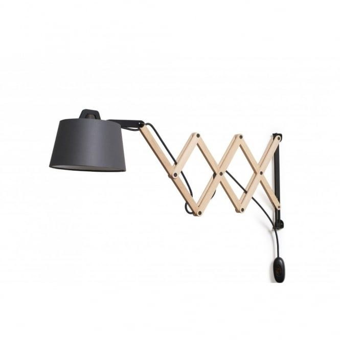 Classical Scissor Arm Wall Light With Wooden Structure And Graphite  Coloured Shade.