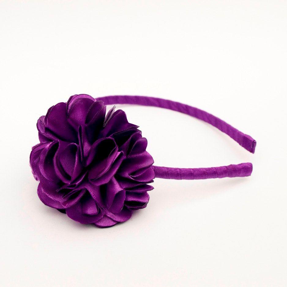 Teal Satin Girls Hairband Headband Alice Band Black Flower
