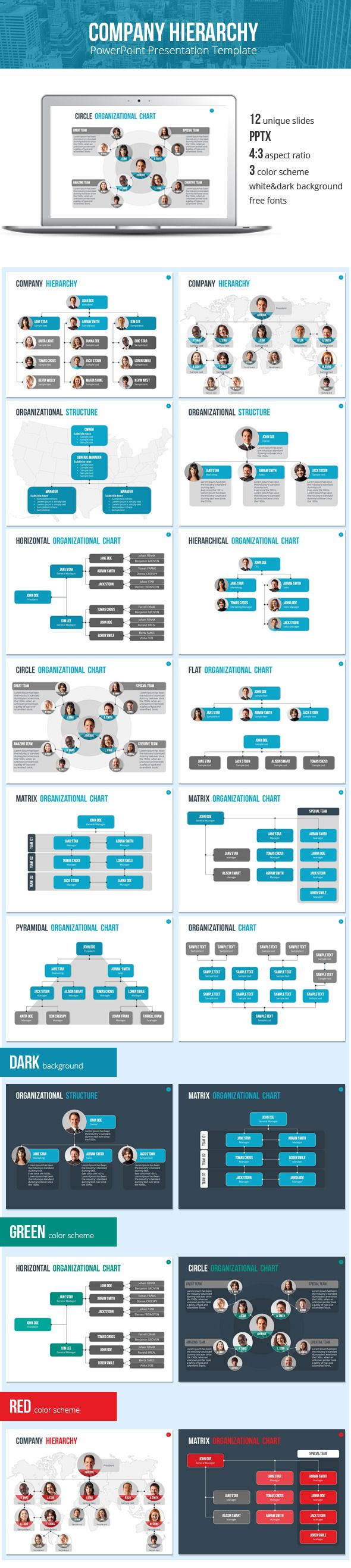 Organizational Chart And Hierarchy Template Business Powerpoint