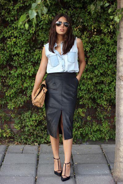 e5e234f26 black pencil skirt asos skirt - light blue denim shirt Levis shirt ...