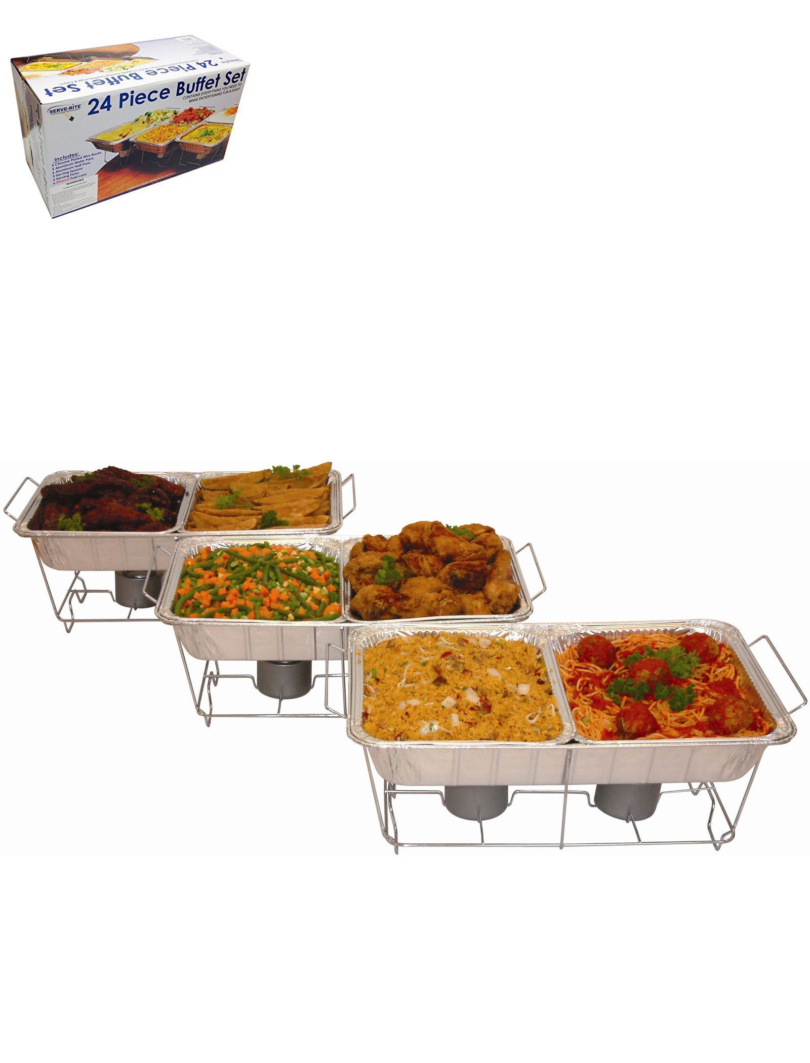 Chafing Dishes And Warming Trays 27552 Serve Rite 24 Piece Buffet