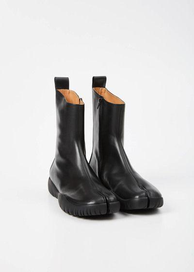 Maison Margiela Tabi Calfskin Leather Bootie Black