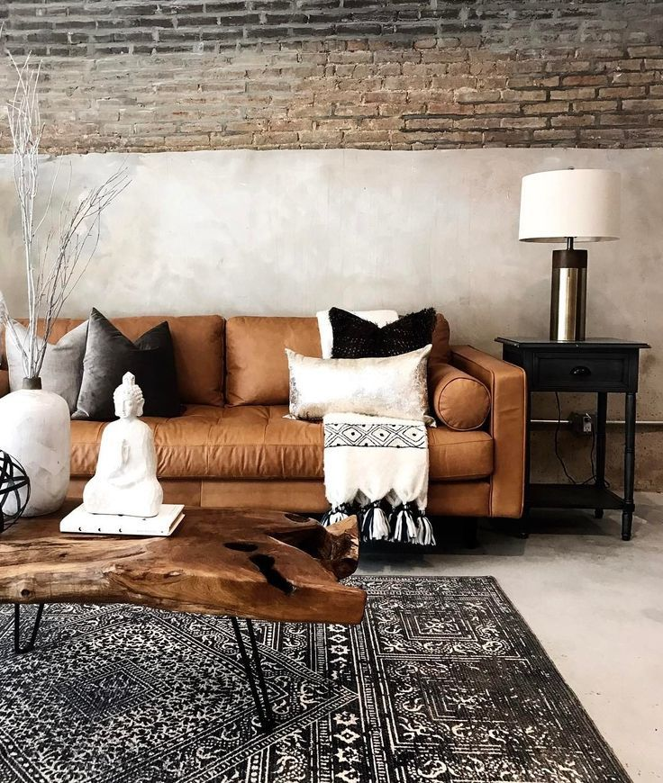 Sven Charme Tan Sofa is part of Leather couches living room - Design a timeless space with this tan leather sofa  Its firm wooden frame, overstuffed cushions, and tufted bench seat will support the longest Netflix® marathon
