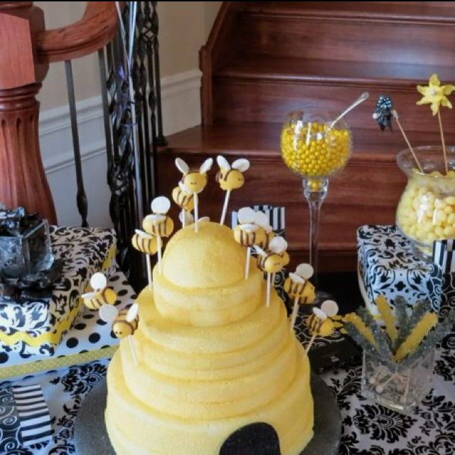 Bumble Bee Cake Pops In Styrofoam Beehive For Baby Shower