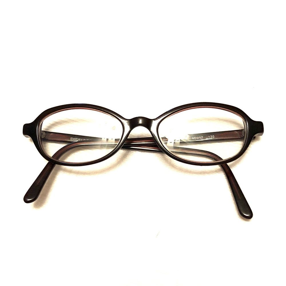 86e7375381 Emporio Armani 609 Women s brown oval eyeglasses frame made in Italy 46 17  135