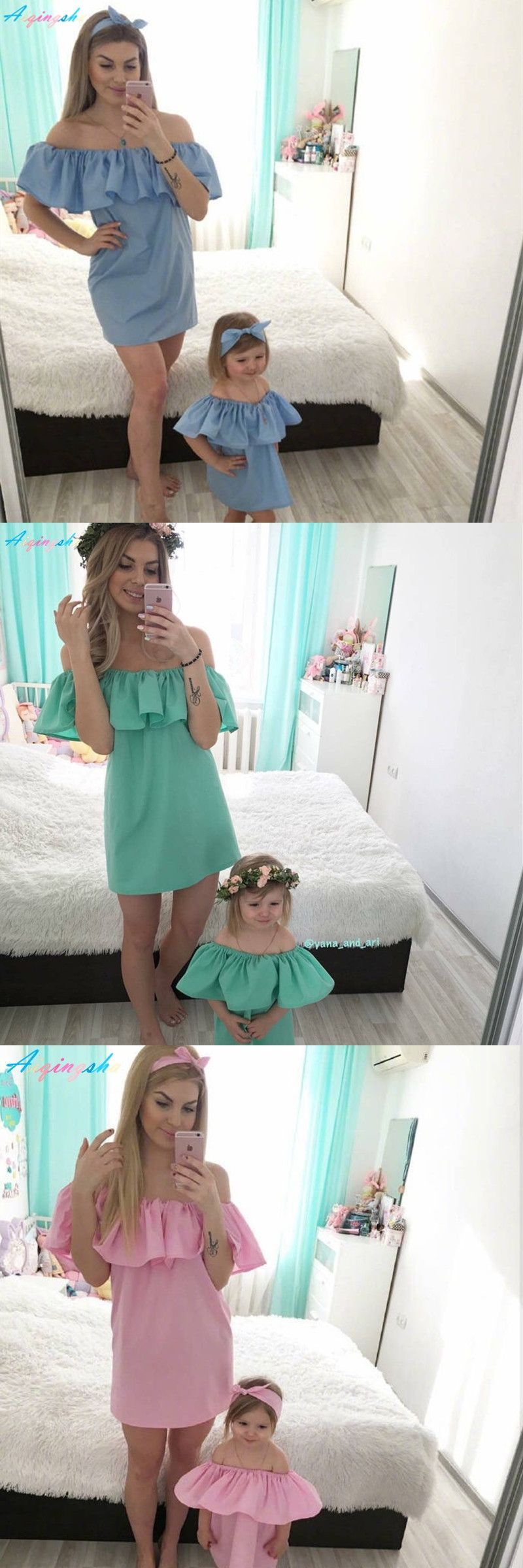 Family Matching Outfits Women S Holiday Beach Dress Mother Daughter Dresses Summer Mommy And Me Clothes