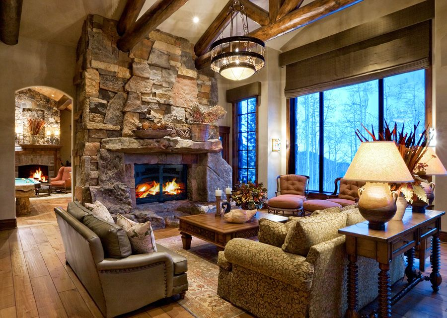 Mountain Home Living Room Chandelier | Paula Berg Design Associates