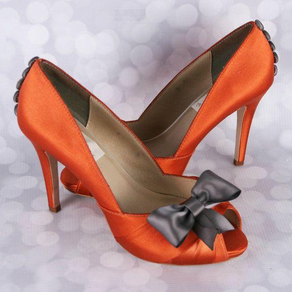 Orange Wedding Shoes, Burnt Orange Wedding, Charcoal Gray Wedding, Gray Wedding  Shoes,