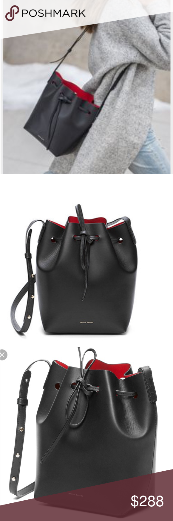 Mansur Gavriel Mini Bucket Bag Black with Flamma Mansur Gavriel mini bucket bag. Always out of stock everywhere. Black leather with Flamma(red) interior. Bought from Barney's. with original dust bag. Normal wear, there is a light scratch on the back. See pics for detail. Mansur Gavriel Bags Satchels