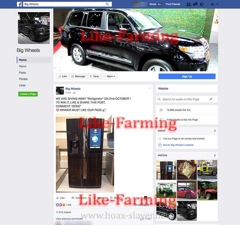 Big Wheels LikeFarming Scam Facebook Page  HoaxSlayer