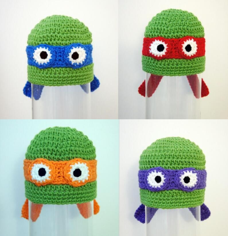 10pcs/lot Crochet Boy Hat, Teenage Mutant Ninja Turtle Hats, baby ...