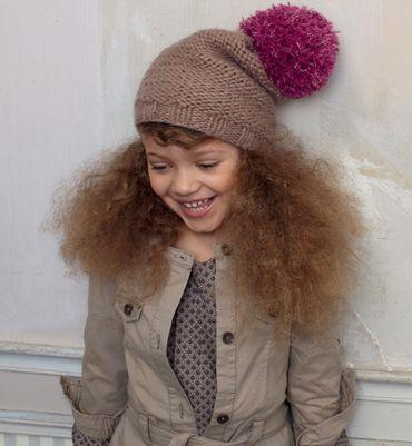 Modèle bonnet à pompon - Modèles tricot enfant - Phildar   Tricots fille 8aee9146973