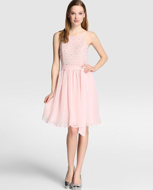 7a9f3b5e9 Vestido de mujer Tintoretto rosa claro con strass Fiesta De Mujeres