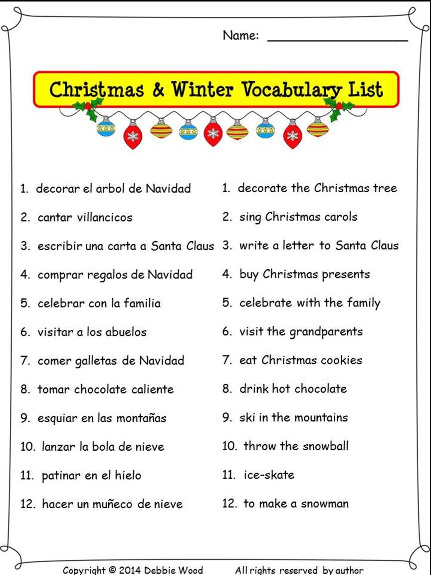 spanish christmas activities nouns and verbs debbie wood spanish resources spanish christmas. Black Bedroom Furniture Sets. Home Design Ideas