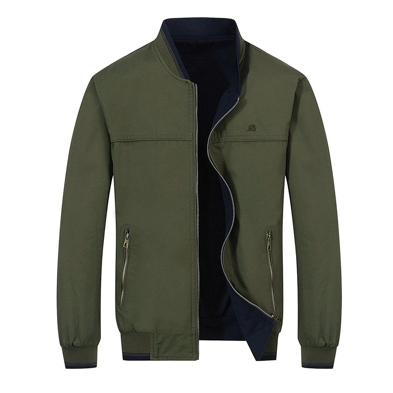 Men S Casual Reversible Cotton Jacket Light Windbreaker Jacket Army Green 015 Cw1843tr2q7 Mens Outerwear Jacket Mens Outfits Cotton Jacket [ 1500 x 1500 Pixel ]