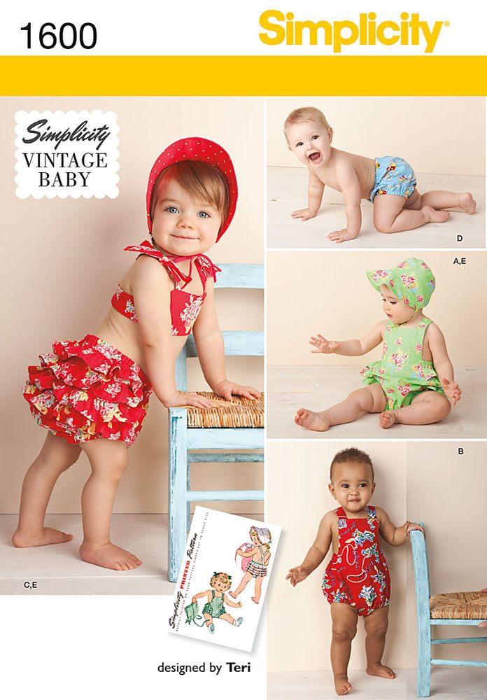 """vintage baby romper, bikini with back ruffles, panties and bonnet in three   sizes... s(17""""), m(18""""), l(19""""). simplicity archive sewing pattern.<p></p><img   src=""""skins/skin_1/images/icon-printer.gif"""" alt=""""printable pattern"""" /><a href=""""#"""" onclick=""""toggle_visibility  ('foo');"""">printable pattern terms of sale</a><div id=""""foo"""" style=""""display:none; margin-top: 10px;"""">digital   patterns are tiled and labeled so you can print and assemble in the comfort of your home. plus, digital patterns i..."""