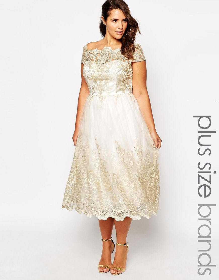 Image 1 of chi chi london plus metallic lace cap sleeve for Plus size midi dresses for weddings