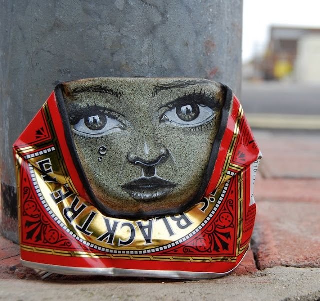 Street artist My Dog Sighs creates gorgeously painted faces on found crushed cans, which he then leaves on the streets in random places for passers-by to take home. It is both a street art installation project and an altruistic gesture dedicated to the cause of free art for everyone.