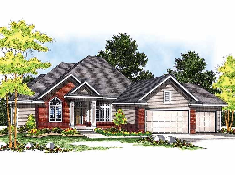 Eplans Ranch House Plan - Unique Three-Bedroom Ranch - 2000 on the main floor but could eliminate sq ft by shortening the front and eliminating den and dining.... Add another bedroom/office  in basement?3201 Square Feet and 3 Bedrooms from Eplans - House Plan Code HWEPL04158